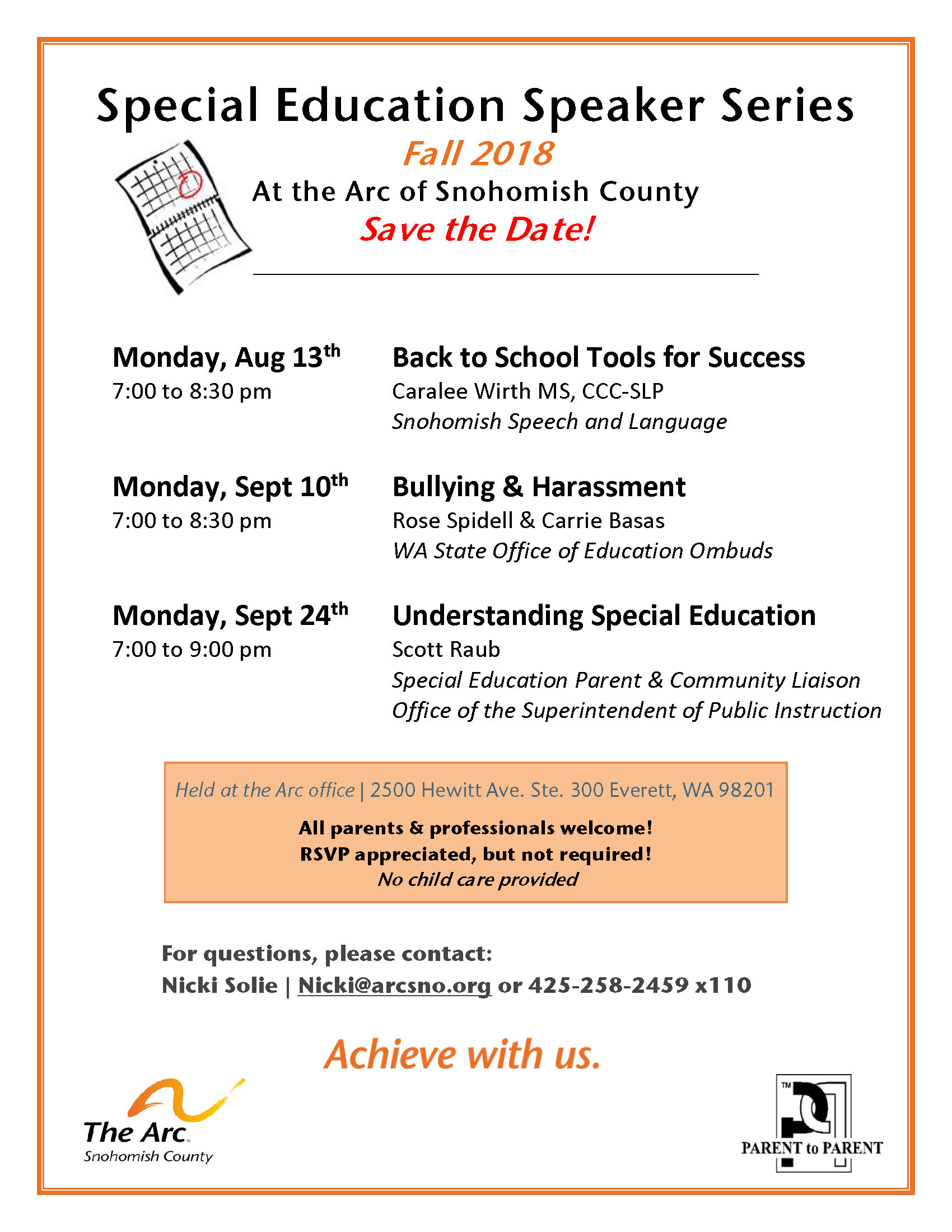 Arc Sp.Ed Speaker Series Fall 2018