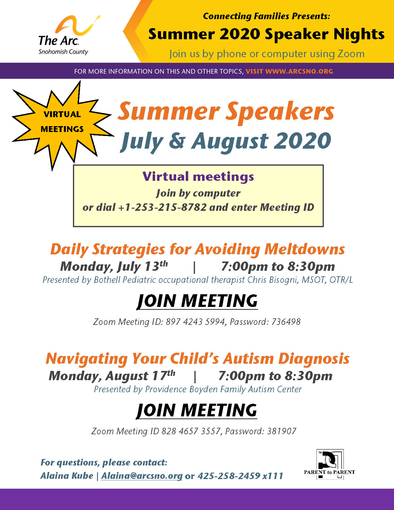 Zoom Arc Summer Speaker Series July and August2020
