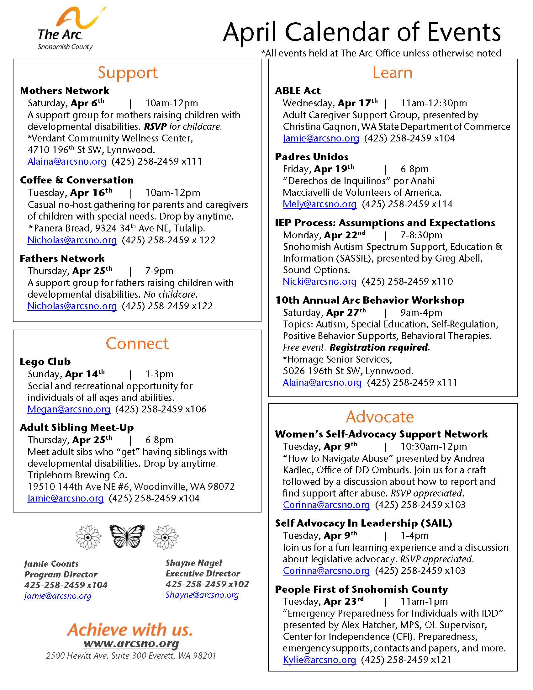 April 2019 Calendar of Events