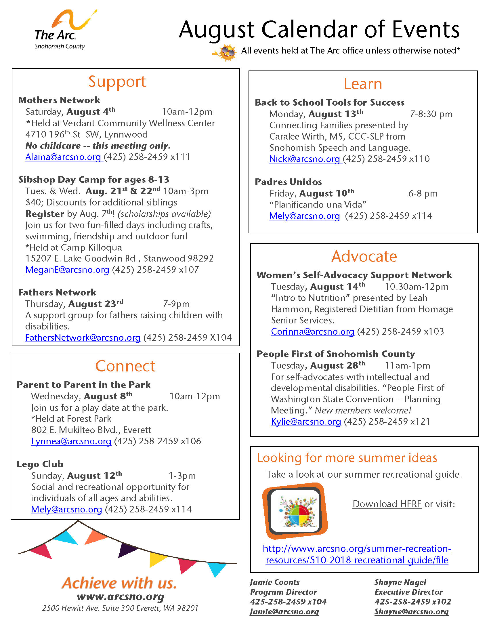 Arc August 2018 Calendar of Events