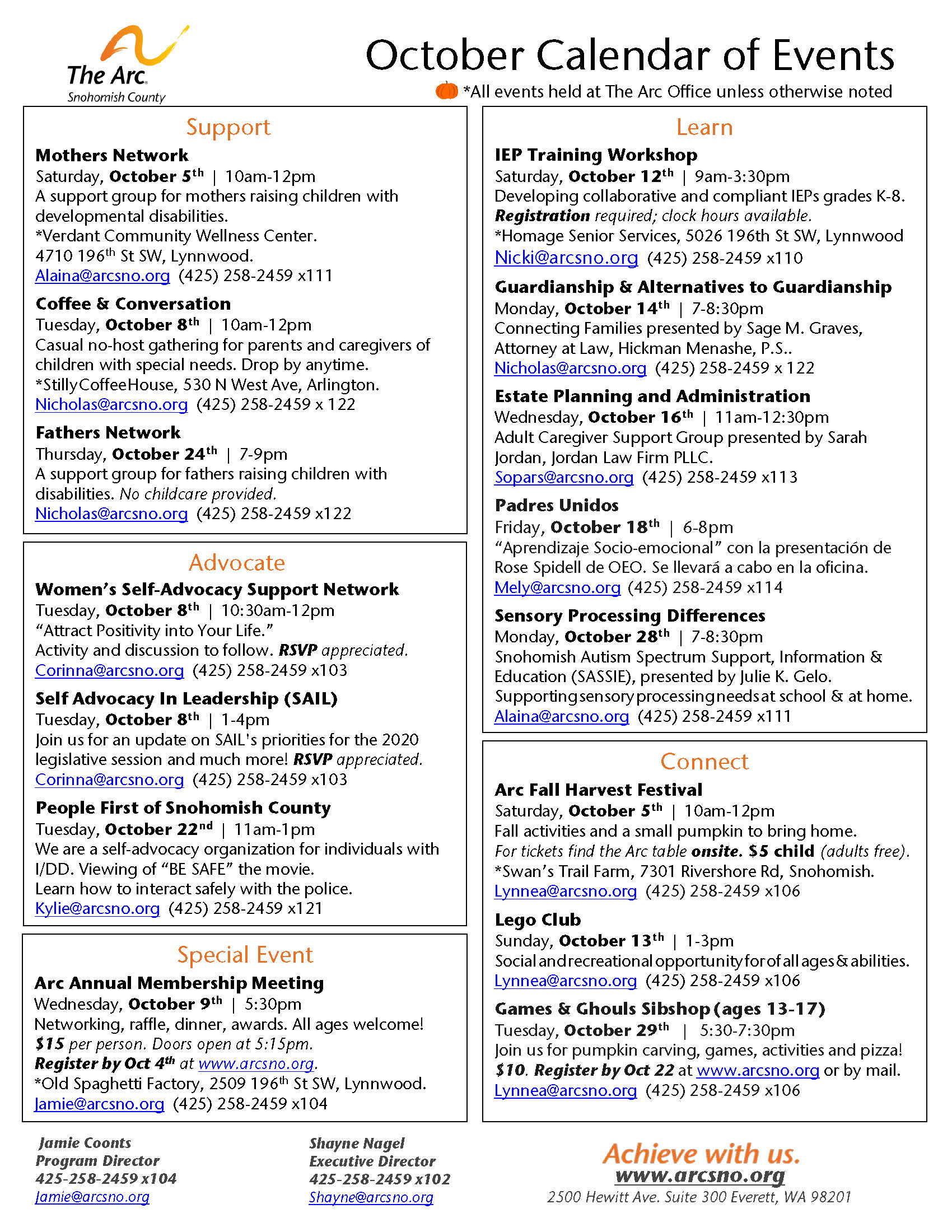 The Arc October Calendar of Events