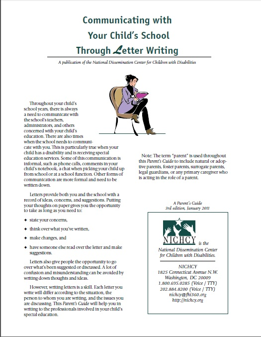 Communicating with your child's school through letter writing