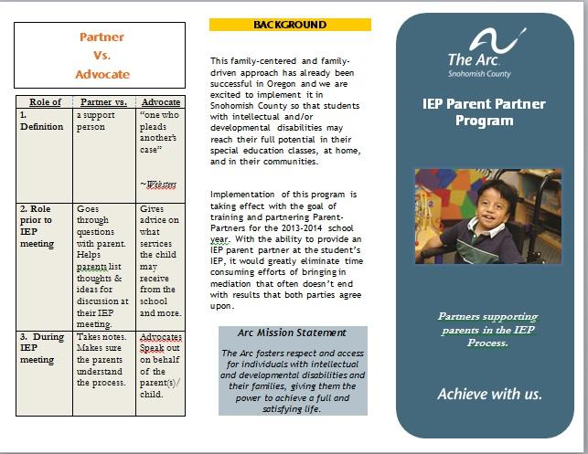 IEP Parent Partner Brochure updated 8 21 2014
